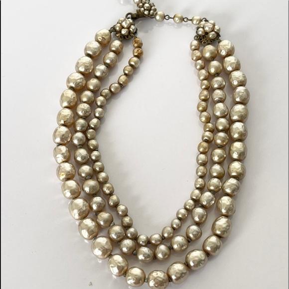 Vintage 3 Strand Baroque Necklace Miriam Haskell